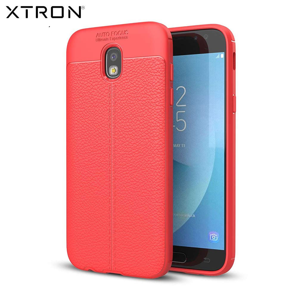 separation shoes 50f6f 54f7d XTRON Back Cover for Samsung Galaxy J7 Pro | Leather Pattern Mobile Phone  Soft Covers and Cases for Samsung Galaxy J7 Pro [AutoFocus] – RED