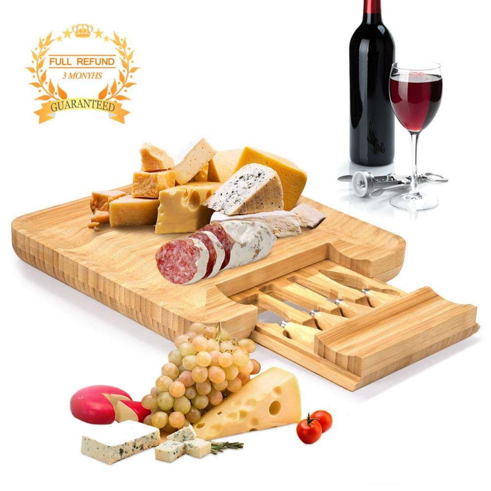 """Bamboo Cheese Board,Charcuterie Platter/Cheese Plate with Integrated Slide-out Drawer and 4 Stainless Steel Cheese Knives - Best for Gift and Gourmet,13""""x13""""x1.5""""in"""
