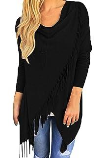 9904d7a5d Pink Queen Women s Tassel Hem Open Front Cardigan Pullover Knit Sweater Coat
