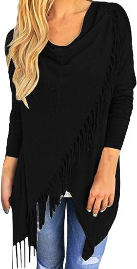 Pink Queen Womens Tassel Hem Open Front Cardigan Pullover Knit Sweater Coat