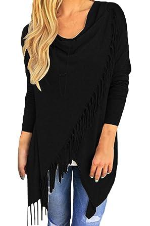 7e8f585de4981f Pink Queen Women's Tassel Fringe Knit Pullover Sweater Cardigan Coat Black S