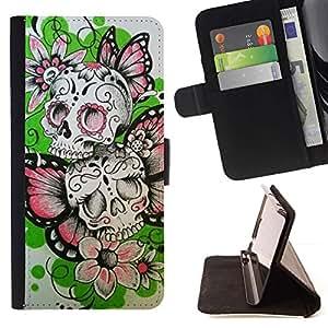 Momo Phone Case / Flip Funda de Cuero Case Cover - Las flores de mariposa de primavera cráneo del motorista - Samsung Galaxy S4 IV I9500