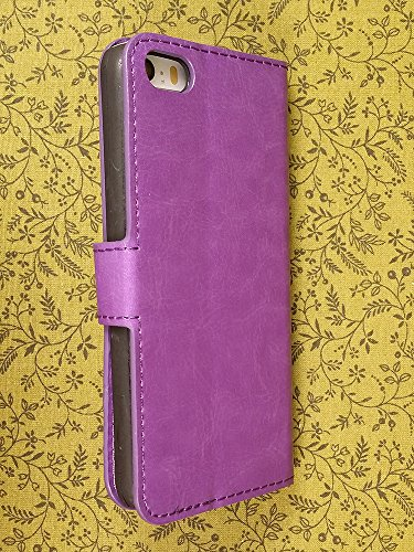 High Quality Vintage Vegan Leather Folio Wallet Case with Magnetic Enclosure and Kickstand for Apple iPhone 5C - Purple