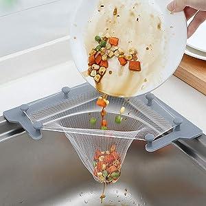 Homeberry Multipurpose Kitchen Sink Strainer, Sink Corner Strainer Garbage Storage, Triangular Sink Stopper With Leftovers Filter Bag, 1 Holder, 50pcs Filter Bag