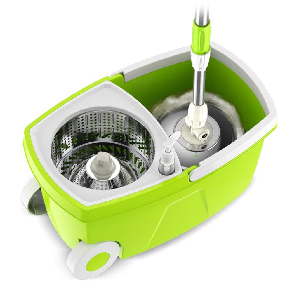 ZZHF モップフリーハンドウォッシャー回転バケツ家庭用ローラータイプ手の圧力自動湿ったドライモップ ステンレス製モップ (色 : Yellow-green, サイズ さいず : A) B07L4CWBH5 Yellow-green A