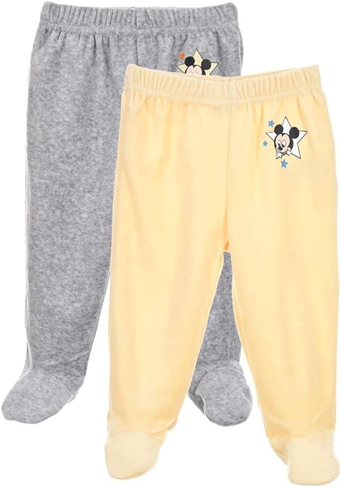 Lot de 2 Pantalons /à Pieds en Velours b/éb/é gar/çon Mickey Ecru et Jaune de 1 /à 9mois