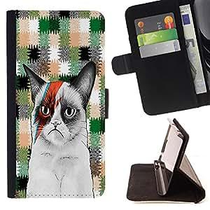 King Case - FOR Samsung Galaxy Core Prime - Don??t get caught - Prima caja de la PU billetera de cuero con ranuras para tarjetas, efectivo Compartimiento desmontable y correa para la mu?eca