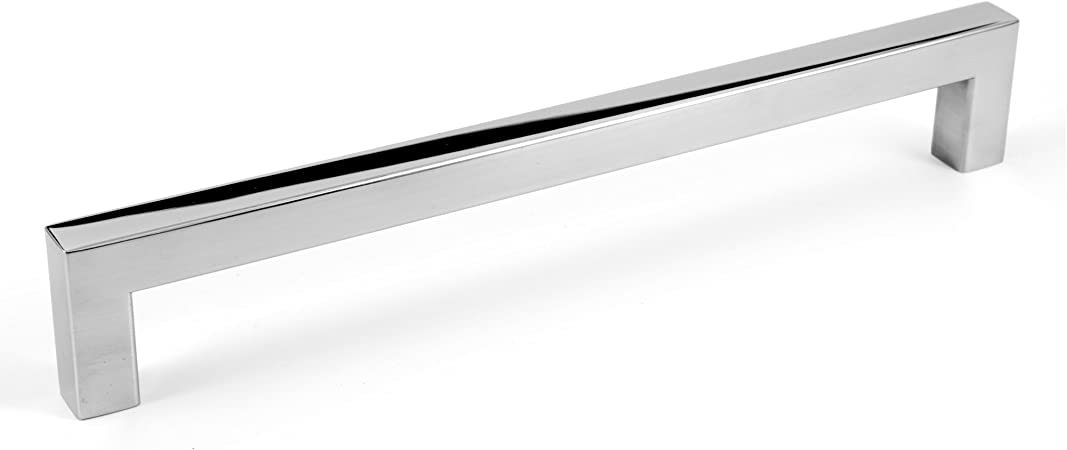 8 Square Bar Pull Kitchen Cabinet Stainless Steel Handles 8 Polished Chrome 10 Pack Amazon Com