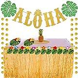 Hawaiian Beach Pool Aloha Party Decoration Green Leaves Garland and Gold Glittery Circle Dots Garland for Summer Party Decoration Supplies