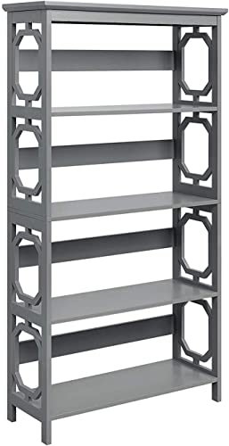 Convenience Concepts Omega 5-Tier Bookcase, Gray