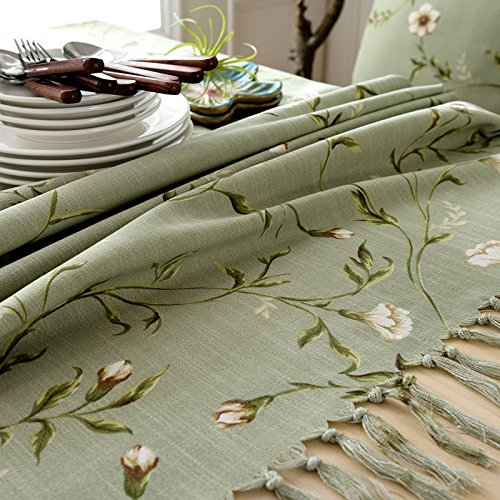 Creek Ywh American pastoral table cloth coffee table tablecloth fabric cotton linen small fresh rectangular modern minimalist table flag table mat, flower and vine  green, 110160cm