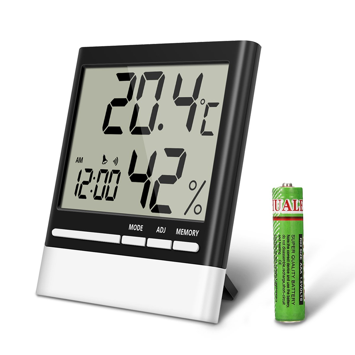 EIVOTOR Temperature Hygrometer, Indoor Thermometers Humidity Monitor LCD Display, Home Digital Dual Wall Alarm Clock Day, Date - Battery Included EIVOTORPORO65KE159