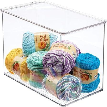 mDesign Caja con tapa para manualidades o costura – Caja organizadora alta de plástico – Organizador de costura apilable para guardar hilos, lazos, cuentas, purpurina, etc. – transparente: Amazon.es: Hogar