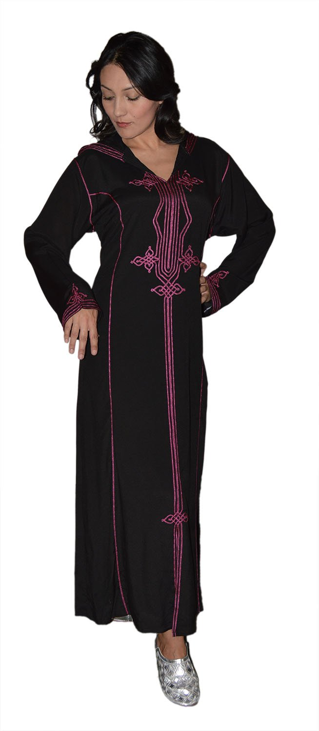 Moroccan Caftans Women Hand Made Djellaba Embroidered Size Large Black