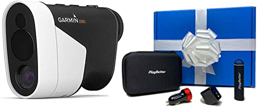 Garmin Approach Z80 Gift Box Bundle PlayBetter Portable Charger, PlayBetter USB Car Wall Adapters Protective Hard Case Hybrid GPS Laser Golf Rangefinder with GPS