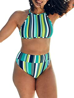57cb527621 Yacooh Womens Halter Strap High Neck High Waisted Cross Back Bikini Sets  Striped 2 Piece Swimsuits