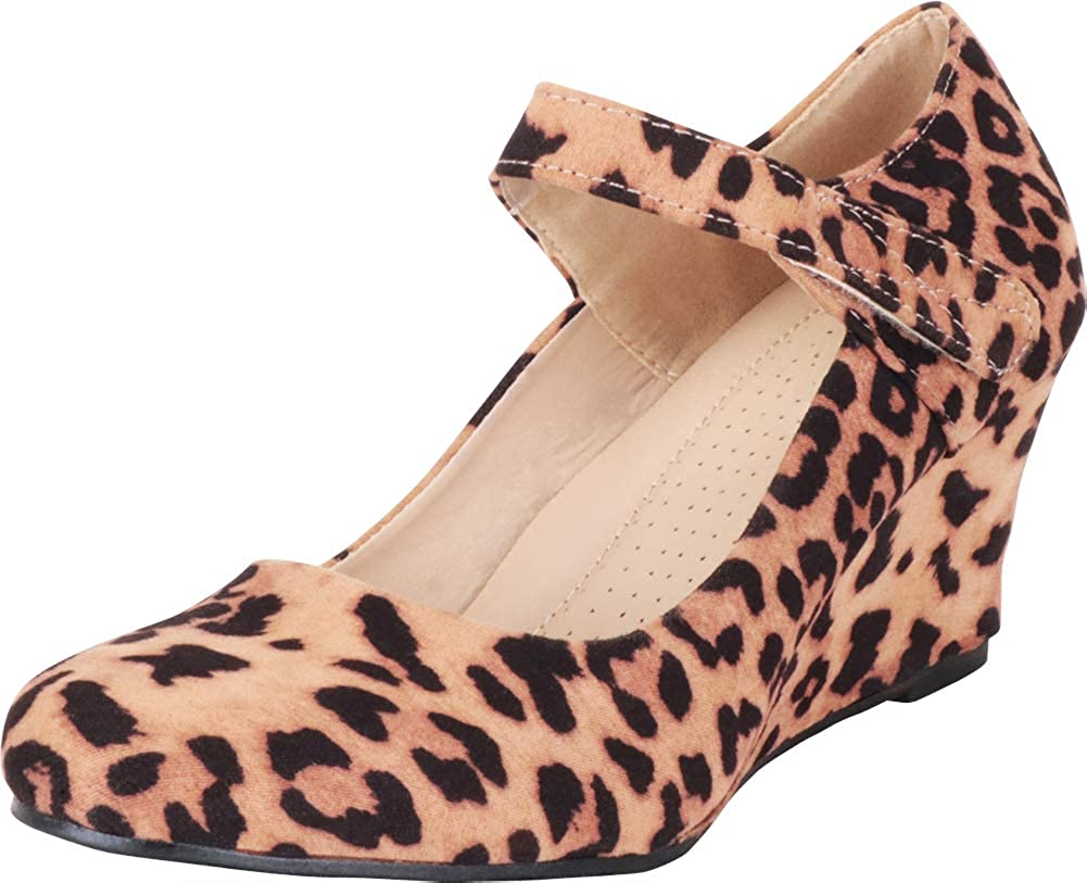 Leopard Imsu Cambridge Select Women's Round Toe Mary Jane Strap Wrapped Wedge