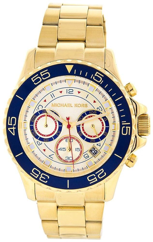 Amazon.com: Michael Kors Everest Chronograph Blue Gold Tone Mens Watch MK5792: Michael Kors: Watches