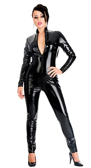68685ea963 Top Totty Women s Sexy Black PVC Catsuit  Amazon.co.uk  Clothing