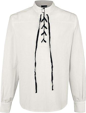 Banned Alternative Camisa con Nudo y Hebilla Hombre Camiseta Blanco Roto, Schnürung Regular: Amazon.es: Ropa y accesorios