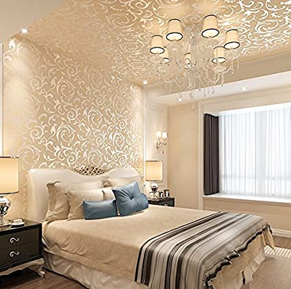 Lxpagtz Continental Gold Foil Wallpaper Living Room Bedroom