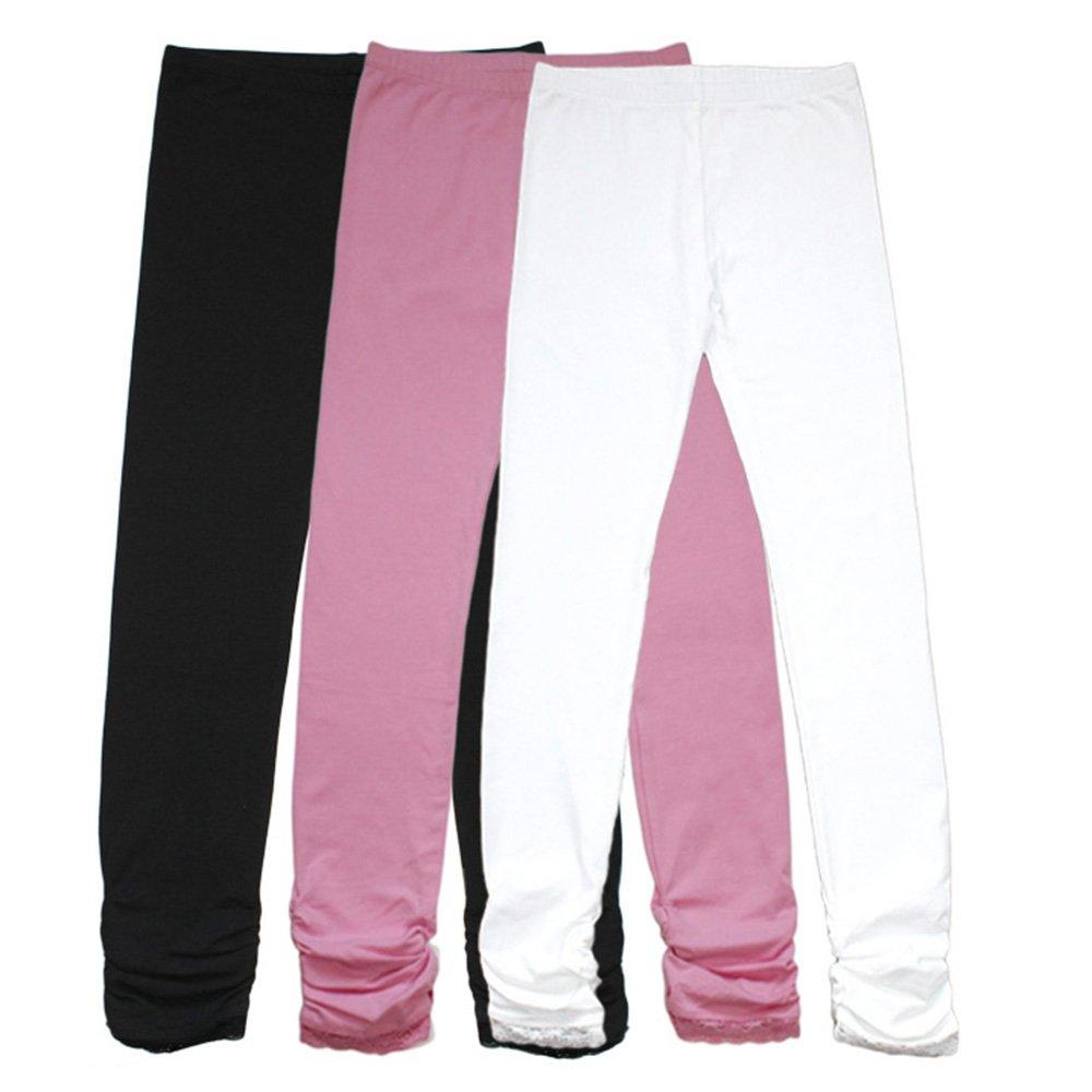 Bienzoe Girl's Cotton Stretchy School Uniform Lace Antistatic Legging 3 Pack S7