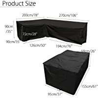 Black L Shaped Sofa Dust Cover (78''x106'') & Table Cover (61''x37''x26'') for Outdoor Patio Waterproof & Dustproof Furniture Protection (2 Pcs Set)