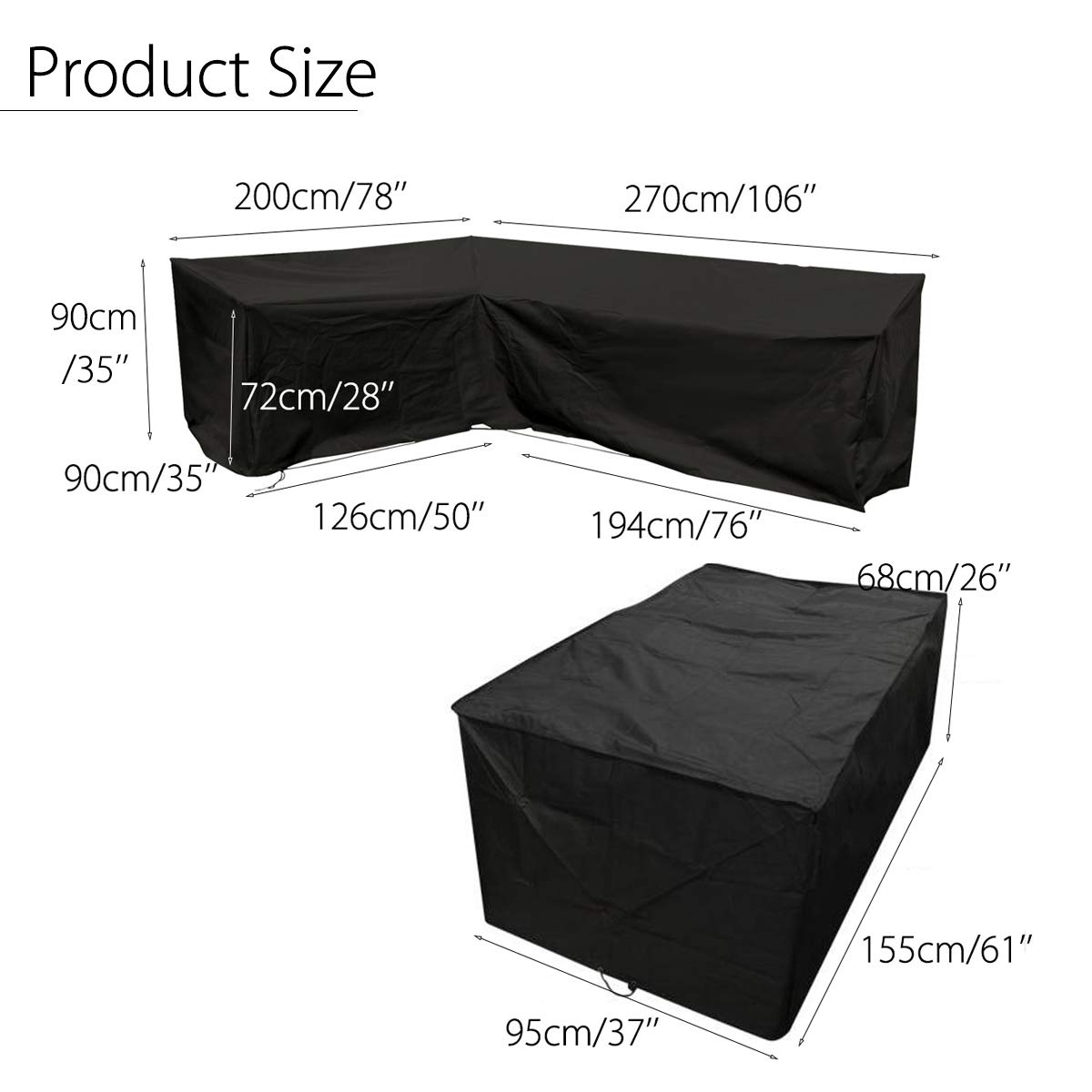 dDanke Black Polyester Waterproof Outdoor Dining Patio Set Cover for 200x270x126x194x90x72cm Corner Sofa Cover with 155x95x68CM Dining Table Cover