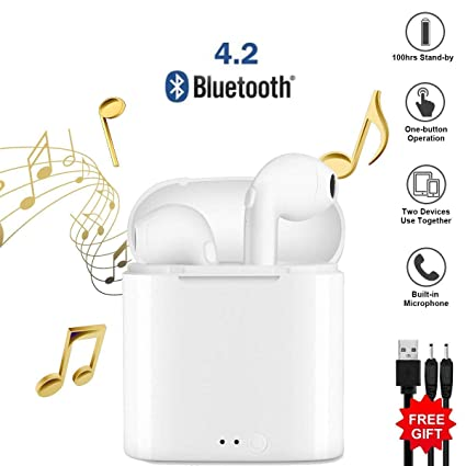 Mini Auriculares inalámbricos Bluetooth Auriculares estéreo in-Ear con 2 Auriculares inalámbricos incorporados para micrófono