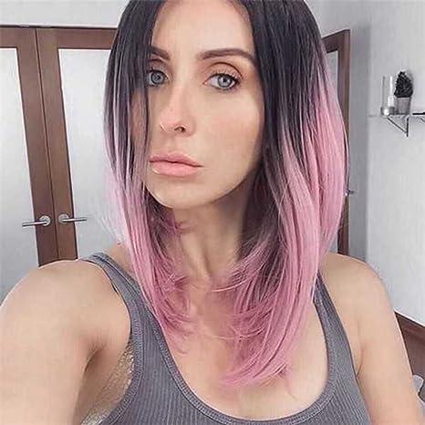 Usexy Ombre - Peluca de hombro corto, color negro, rosa, rojo, verde