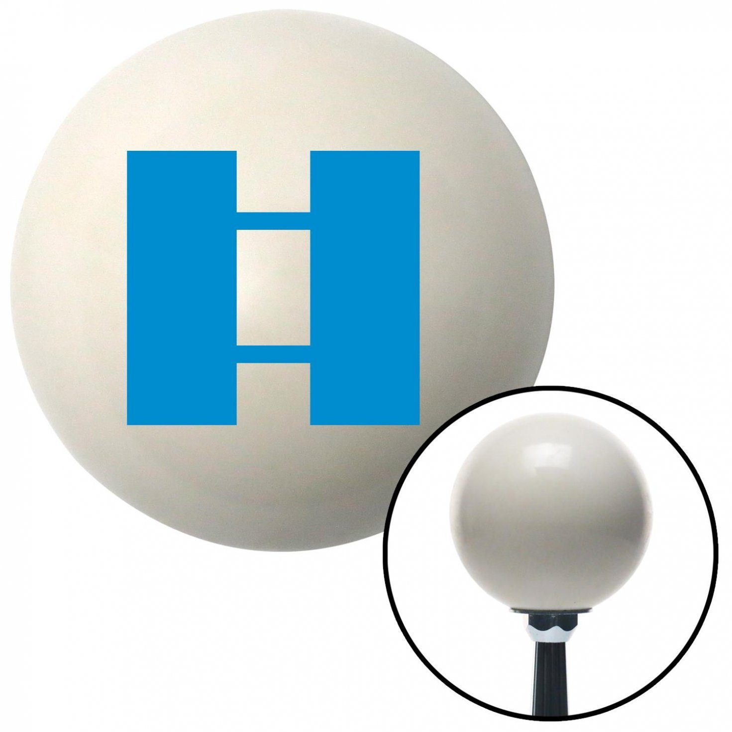 American Shifter 35601 Ivory Shift Knob with 16mm x 1.5 Insert Blue Officer 03