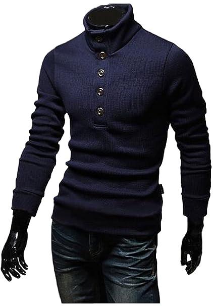 SICHYUAN Sudaderas Slim Fit con Cuello Alto, Suéter Suave con Cuello Redondo para Hombres Camiseta Cómoda con Cuello Alto y Manga Larga.
