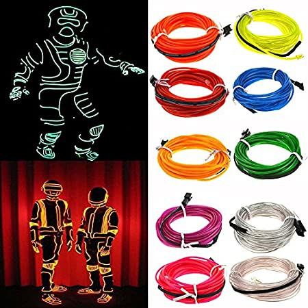 CALISTOUS 1M Flexible LED Light Glow EL Wire String Strip Rope Tube Car Christmas Party Decor Blue