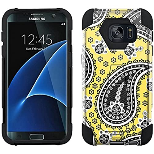 Samsung Galaxy S7 Edge Hybrid Case Fun Paisley Black on Yellow 2 Piece Style Silicone Case Cover with Stand for Sales