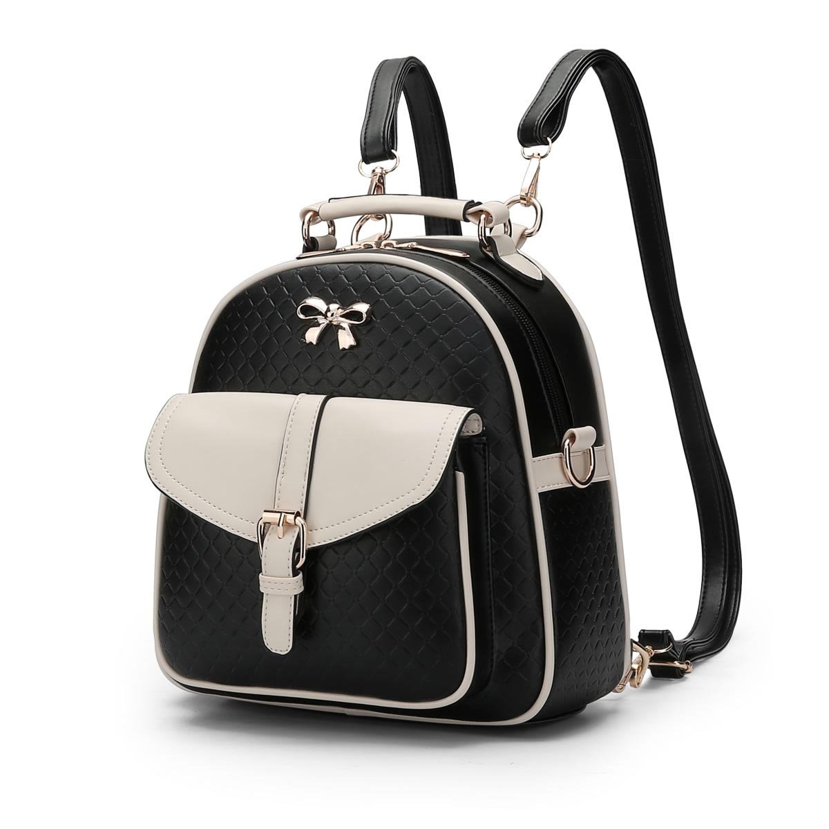 MSZYZ Women's shoulder bag spring and summer young girl's small backpack,Coloured black,24.51026CM