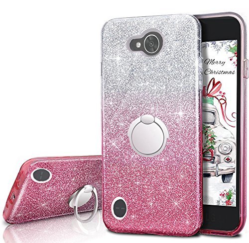 LG X Power 2 Case,LG X Charge Case,LG Fiesta 2 Case, LG Fiesta LTE Case,LG K10 Power Case,Silverback Girls Bling Glitter Sparkle Case with Ring Stand, TPU Outer Cover + Hard PC Inner for LG LV7 -Pink