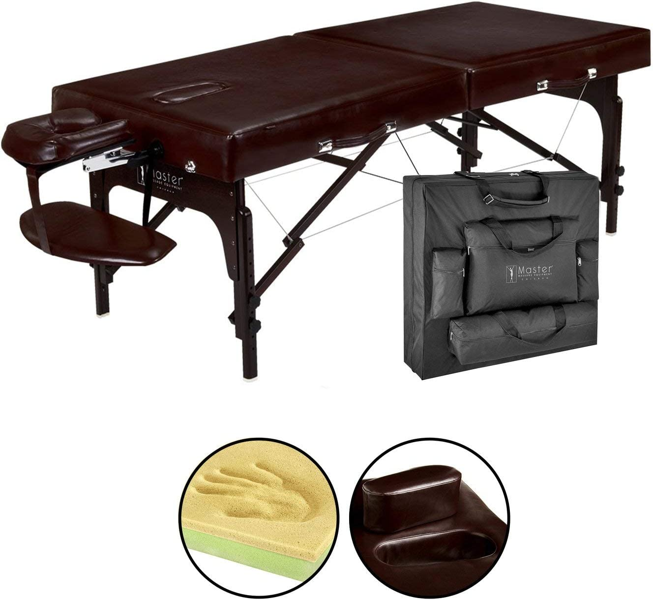 Master Massage 31 Supreme Lx Portable Massage Table Package-brown Luster, Memory Foam