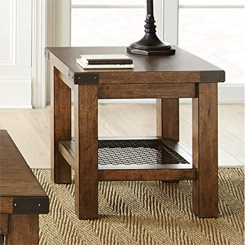 BOWERY HILL Square End Table in Distressed Oak