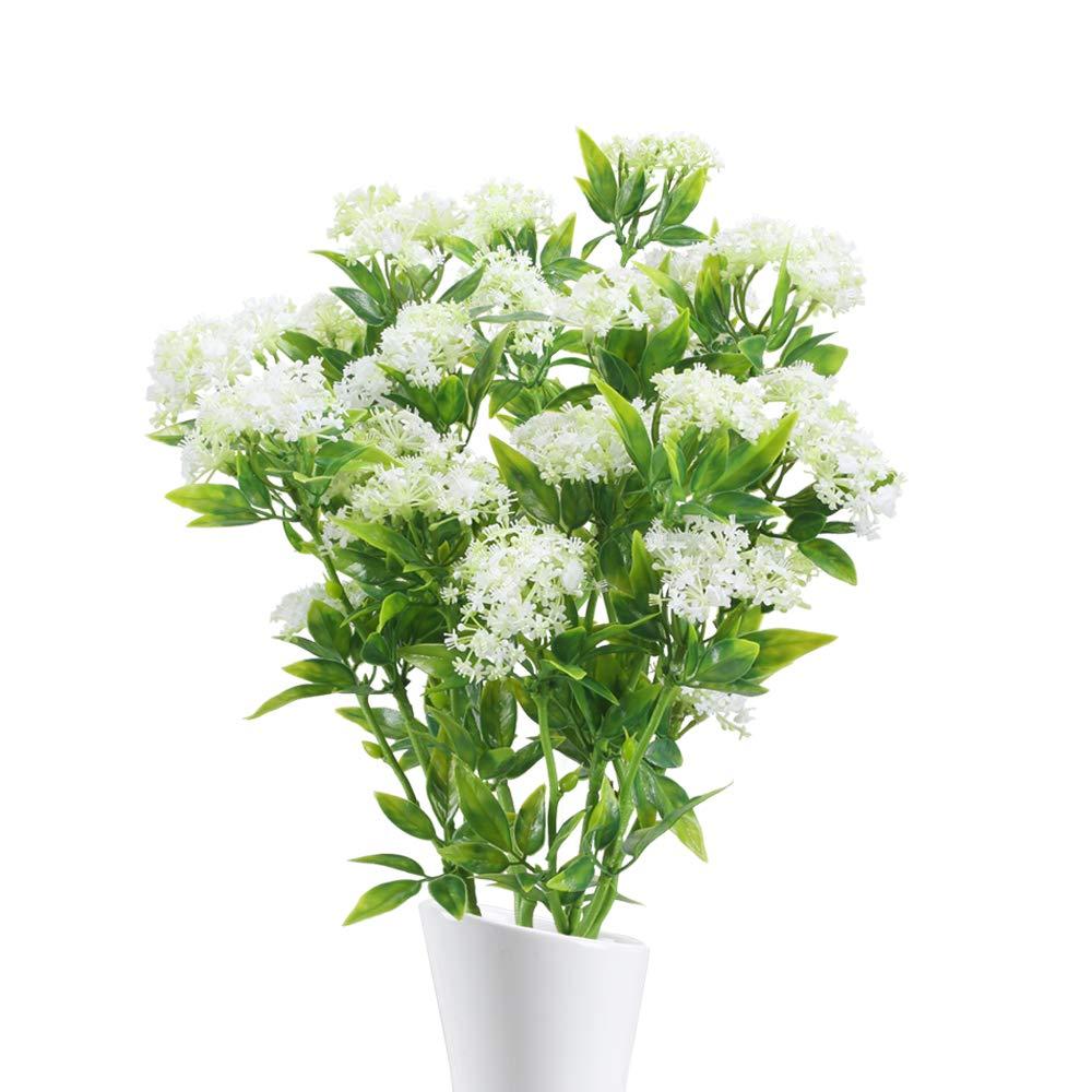 NAHUAA 4 Pezzi Piante Artificiali Fiori di Gipsofila Primavera Fiori di Plastica Foglie di Arbusti Piante Finte Verdi per Vaso Balcone Soggiorno Cimitero Esterno Interno Casa Giardino