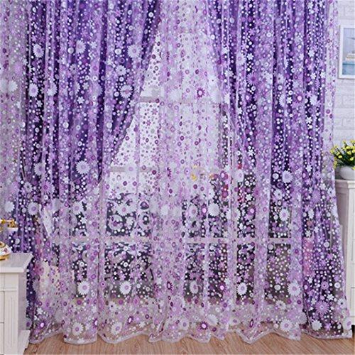 (Gotd Floral Voile Door Sheer Window Curtain Room Curtain Divider 100cmx200CM (Purple))