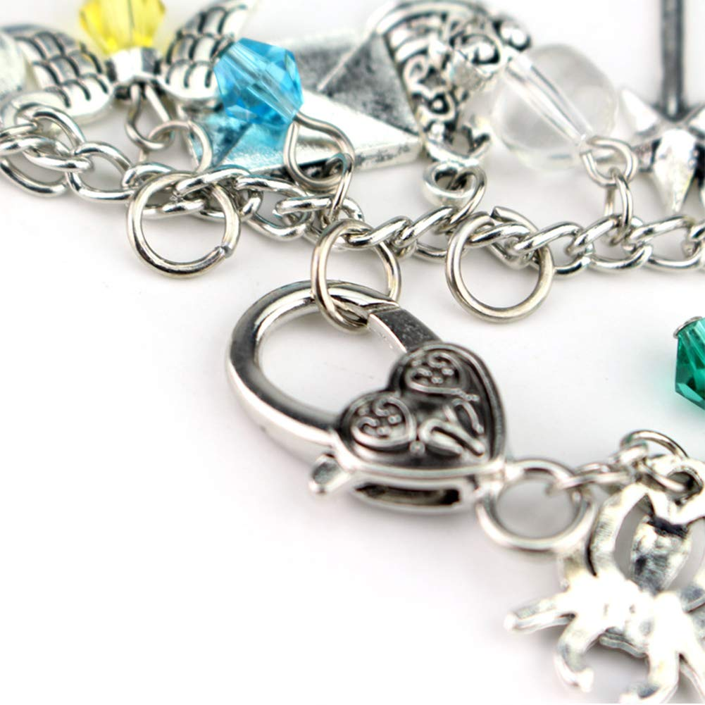 ali luna bacchetta magica flash chiavi ragno gufo EisEyen Harry Potter Set braccialetto con charm e ciondolo in argento satellite occhiali