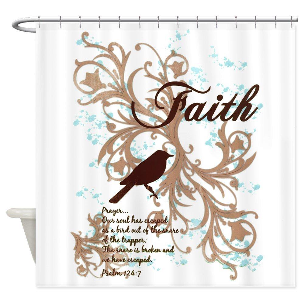 Shower Curtain Faith Prayer Dove Christian Cross