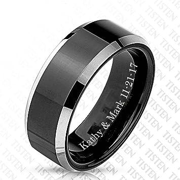 Amazon Com Custom Engraved Men S Tungsten Titanium Wedding Band