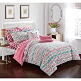 6 Piece Girls White Pink Teal Blue Aztec Tribal Motif Themed Duvet Cover Twin XL Set, All Over Bright Ikat Southwest Bedding, Vibrant Girly Intricate South West Native American Pattern, Microfiber