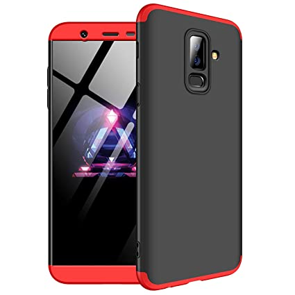 huge selection of b889c fe2f1 Spazy Case 3 in 1 Slim Fit Complete 3D 360 Degree Protection Hybrid Hard  Bumper Back Case for Samsung Galaxy J8 [May 2018 Launch]- (Black & Red)