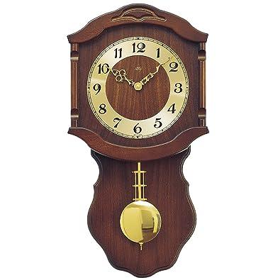 Reloj De Péndulo AMS Reloj de pared 964/1 cuarzo con péndulo Madera Caja NUSSBAUMFARBEN lacado: Amazon.es: Joyería