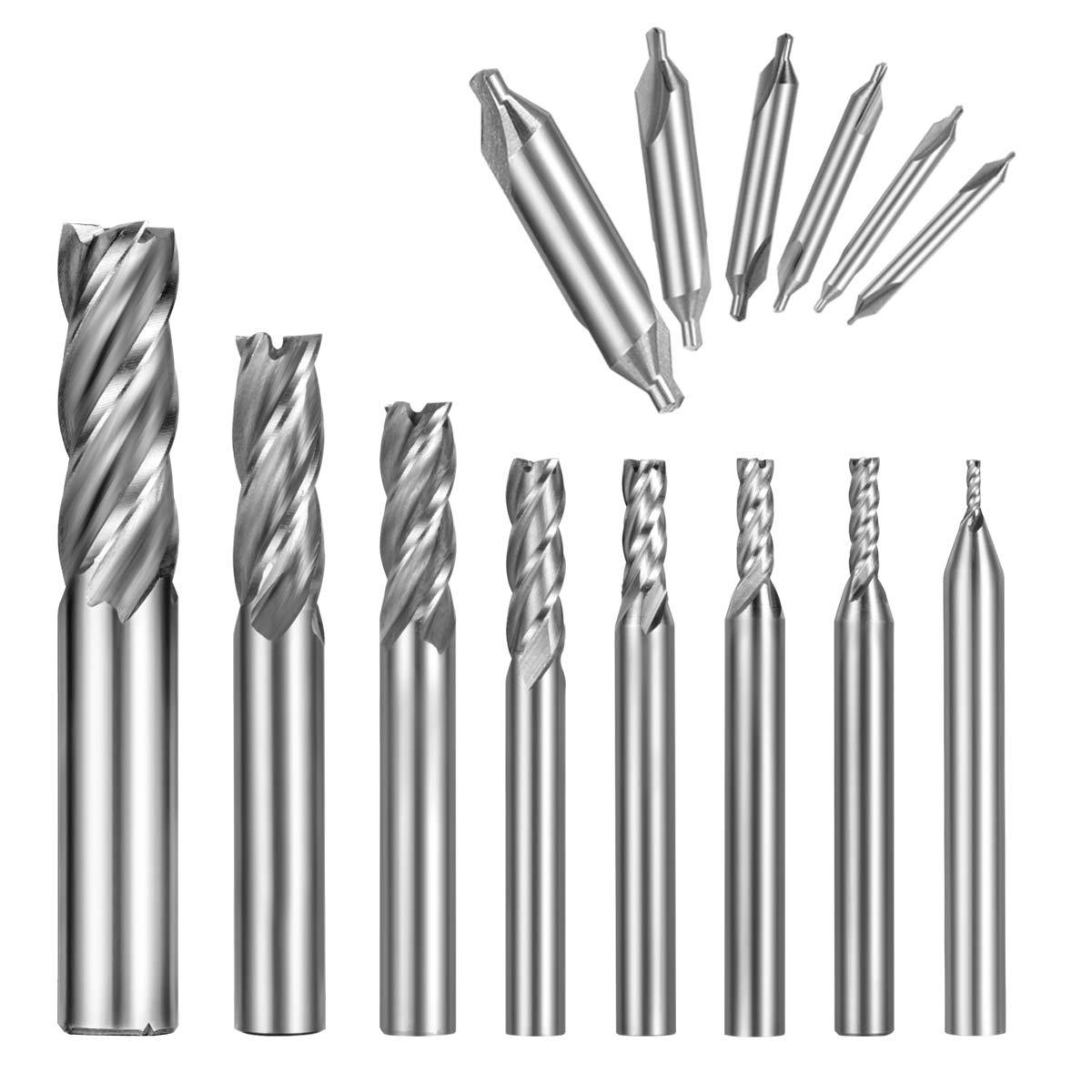 Qibaok 8PCS End Mill Bits, HSS CNC Cutter Drill Bits Straight 4 Flute Mill Bit Set + 6PCS Center Drill Bits, HSS Lathe Mill 60 Degrees Countersink Drill Bits for Wood, Aluminum, Steel, Titanium