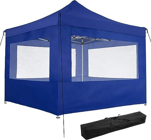TecTake 800686 Carpa de Jardín 3 x 3m, Plegable, Aluminio, 100% Impermeable, 4 Paneles Laterales, con Cuerdas Tensoras, Piquetas y Bolsa (Azul | no. 403155): Amazon.es: Jardín