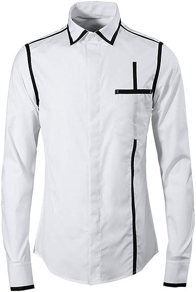 Nuevo Cuello Hombros y Rayas Camisa de Hombre Camisa de Manga ...