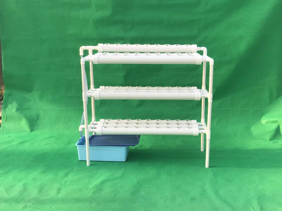LAPOND Hydroponic Grow Kit,3 Layers 90 Plant Sites PVC Pipe Hydroponics 10 Pipes Hydroponics Growing System Water Culture Garden Plant System for Leafy Vegetables